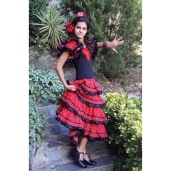 Robe Sévillane rouge volants biais noirs