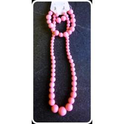 Ensemble Collier-Bracelet-Boucles d'oreilles rose pâle