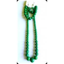Ensemble Collier-Bracelet-Boucles d'oreilles vert émeraude