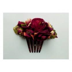 """Peigne """"Fleurs"""" 15 cm bordeau"""