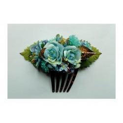 """Peigne """"Fleurs"""" 15 cm bleu pastel"""