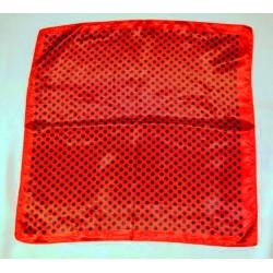 Foulard de cou 54x54 cm rouge pois noirs