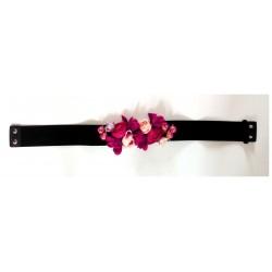 """Ceinture élastique """"Florales"""" noir"""
