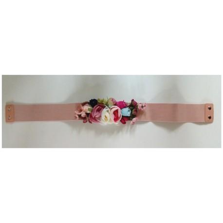 """Ceinture élastique """"Florales"""" rose pastel"""