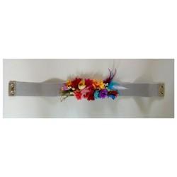 """Ceinture élastique """"Florales"""" argentée"""