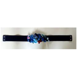 """Ceinture élastique """"Florales"""" bleu marine"""