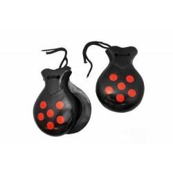 Mini castagnettes noires pois rouge