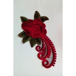 """Broderie Fleur """"grelots"""" 20 cm Rouge foncé"""