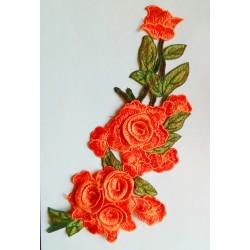 "Broderie ""Chute de fleurs"" corail 28 cm"