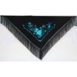 Châle 160 cm noir brodé turquoise fils noirs