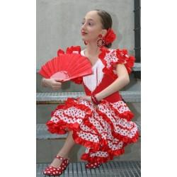 Robe sévillane rouge à pois blancs
