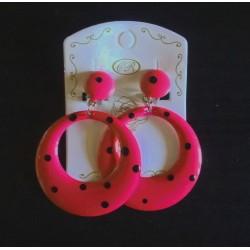 Créoles à clips rose pois noirs diam.3 cm
