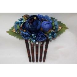 "Peigne ""Fleurs"" 15 cm bleu"