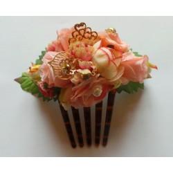 """Peigne """"Fleurs"""" 15 cm rose"""