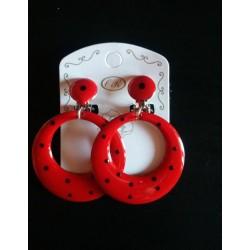 Créoles à clips rouge pois noirs diam.4 cm