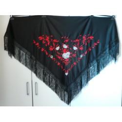 Châle 160 cm noir brodé rouge et gris fils noirs