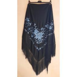Grand châle noir brodé bleu à fils noirs