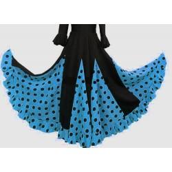 Jupe noire à godets bleu gros pois noirs