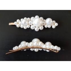 Barrette perles nacrées 9 cm