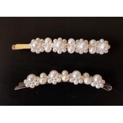 Barrette perles nacrées 8,5 cm