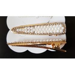 Barrette perles nacrées 7,5 cm
