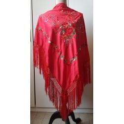 Châle 160 cm rouge brodé multicolore