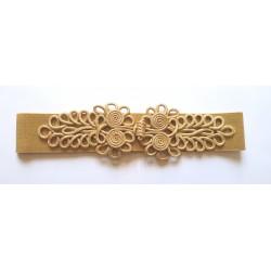 Ceinture flamenca dorée pâle élastique à pressions