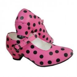 Chaussures rose à pois noirs sans clou