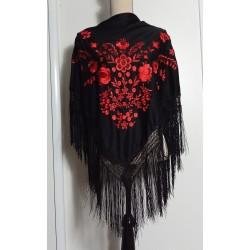 Châle 150 cm noir brodé rouge fils noirs