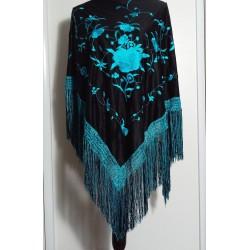 Châle 165 cm noir brodé bleu turquoise à fils bleus turquoise et noirs