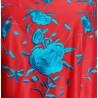 Grand châle 160 cm rouge brodé bleu turquoise