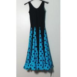 Robe noire à godets bleus pois noirs