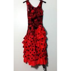 Robe Fleurs et pois sans manche rouge