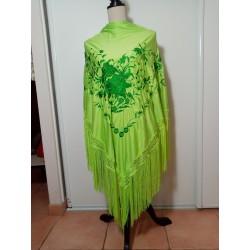 Grand châle vert anis brodé vert sapin fils verts anis 195cm
