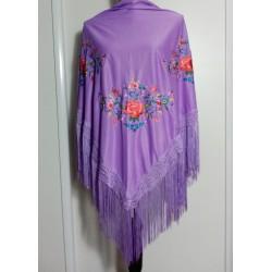 Châle lila brodé multicolor fils lilas 160 cm