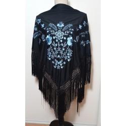 Châle noir brodé bleu ciel fils noirs 160 cm