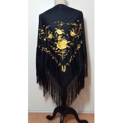 Châle noir broderie or fils noirs 160 cm