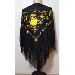 Châle noir broderie jaune fils noirs 160 cm