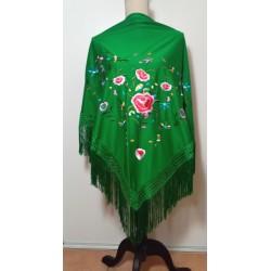 Châle vert broderie multicolore fils verts 170 cm