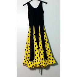 Robe noire à godets jaunes pois noirs