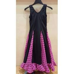 Robe noire à godets rose pois noirs