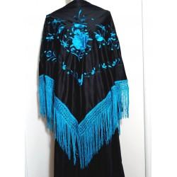 Grand châle 175 cm noir brodé turquoise à fils turquoise