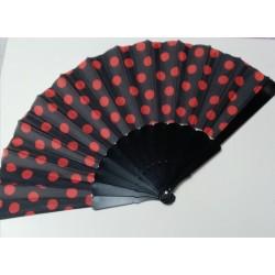 Eventail  Noir à pois rouge en plastique et tissu