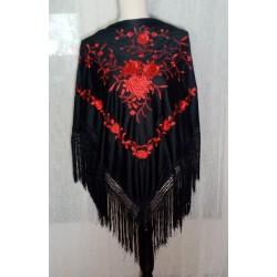 Châle 160 cm noir brodé multicolore