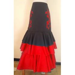 Jupe noire/rouge 3 volants broderies