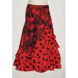 Jupe rouge à fleurs et cascade à pois
