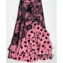 Jupe rose à fleurs et cascade à pois