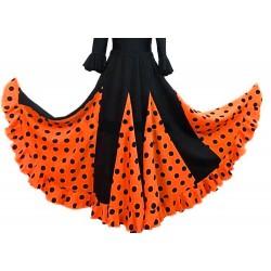 Jupe noire à godets orange gros pois noirs