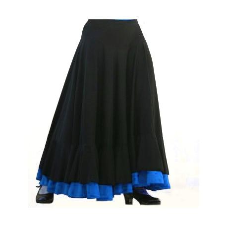 Jupe noire 2 volants (noir+bleu)