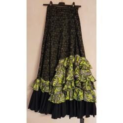 Jupe noire cascade motifs verts